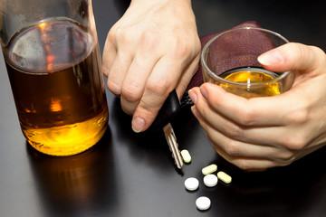 Konzept Alkohol am Steuer