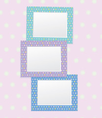 Vector colorful empty photo frames.
