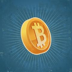 Retro Gold Bitcoin Coin