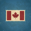 Retro Canada Flag Postage Stamp