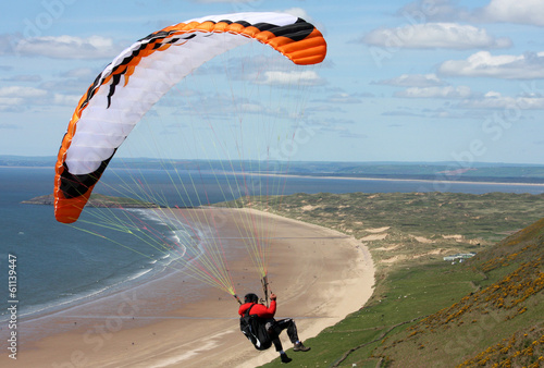 paraglder over Rhossili beach