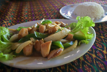 Cambodian meal - fish and rice.
