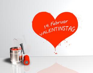 Valentinstag 14. Fevruar - Farbeimer Herz Klecks