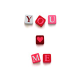 "Words ""you love me"" with colorful blocks"