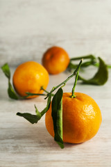 Clemetine mandarin with leaves
