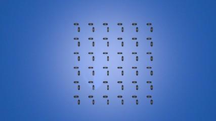 クロマキー用動画素材(タイヤの集団行動C・3Dコンピュータグラフィック)