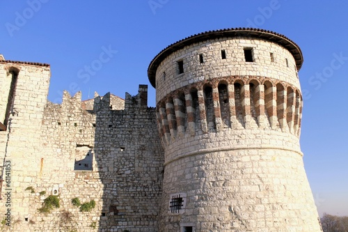 ancient tower of the castle of Brescia in northern Italy