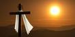Leinwanddruck Bild - Dramatic Lighting Of Mountain Sunrise With Easter Cross