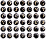 Vintage typewriter keys with shine isolated