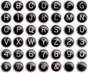Vintage typewriter keys with shine isolated