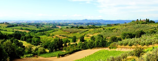 Panoramic view over the countryside of Tuscany, Italy