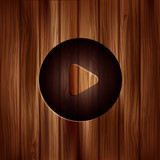 Media play icon. Start symbol. Wooden texture. poster