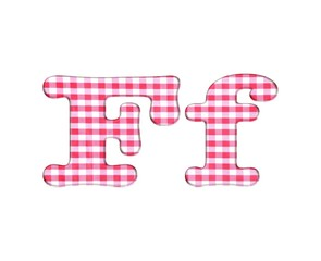 Abc fabric gingham, letter F.