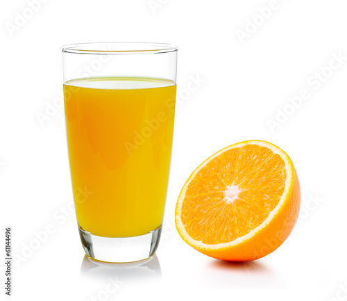 canvas print picture Fresh orange and glass with juice