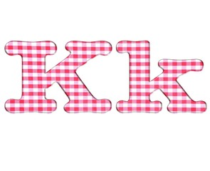 Abc fabric gingham, letter K.