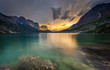 Leinwandbild Motiv last light at St. Mary Lake, Glacier national park, MT