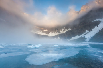 dent fog over iceberg lake, Glacier national park