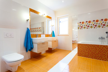 Modern orange bathroom
