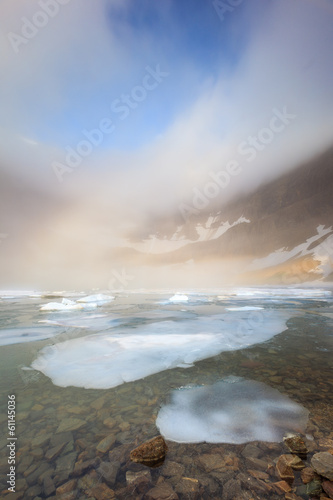 fog over iceberg lake, Glacier national park