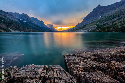 sunset at St. Mary Lake, Glacier national park, MT - 61145071