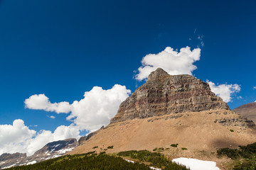 Logan pass Mountain landscape in Glacier national park