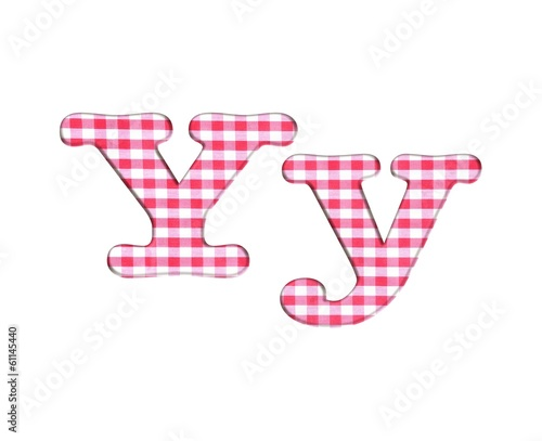 Abc fabric gingham, letter Y.