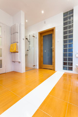 Big orange bathroom with heater