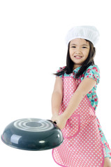 Little asian girl with kitchen ware concept