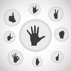 Arm gestures, vector infographics
