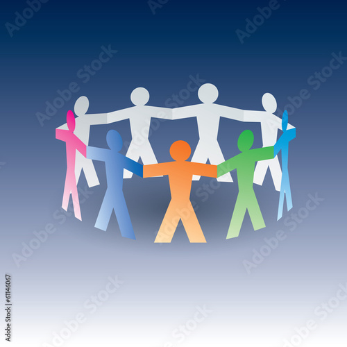 circle of colorful paper people on blue background
