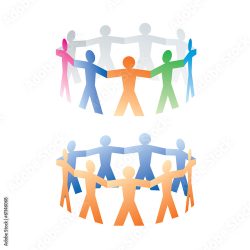 two circles of colorful paper people on white background