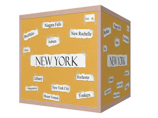 New York State 3D Cube Corkboard Word Concept