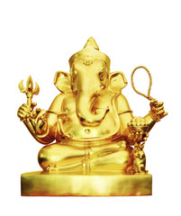Ganesha hindu god of success isolated, clipping path