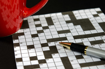 crossword puzzle with red cup