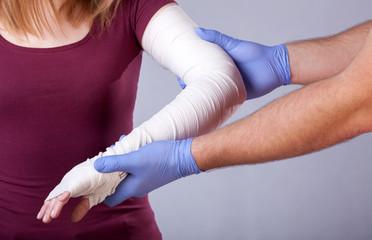 Bandaged arm check up