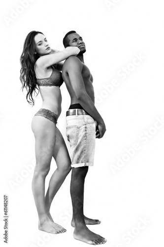 Interracial couple, black & white full body portrait
