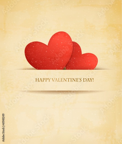 Holiday vintage Valentine`s day background. Two red hearts on ol