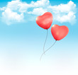 Valentine heart-shaped baloons in a blue sky with clouds. Vector