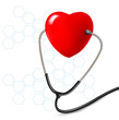 Background with stethoscope against a heart. Vector.