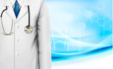 Medical background with a doctor's lab coat and stethoscope