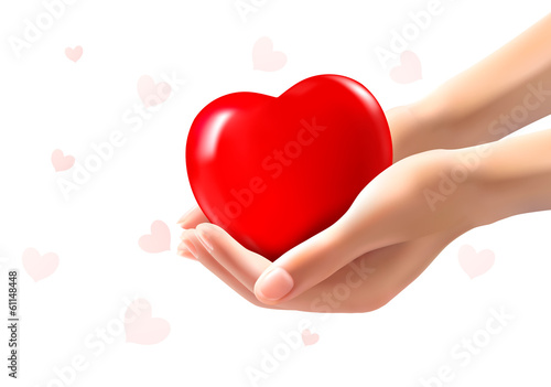 Holiday valentine background with two hands holding red heart. V