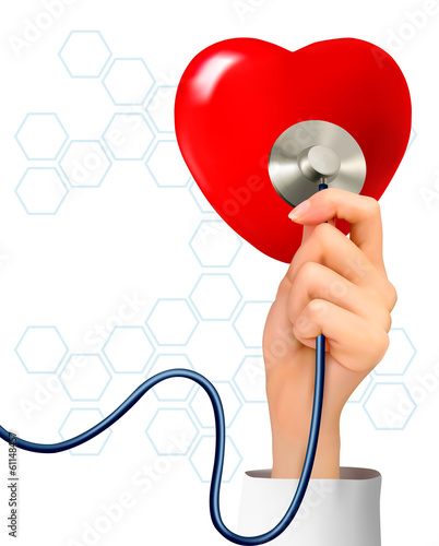 Background with hand holding a stethoscope against a heart. Vect