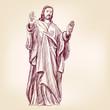 Obrazy na płótnie, fototapety, zdjęcia, fotoobrazy drukowane : Jesus Christ Christianity hand drawn vector llustration