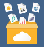 Vector flat illustration of file storage in cloud