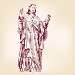 Jesus Christ Christianity hand drawn vector llustration