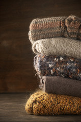 Stack of knitted sweaters