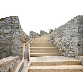 Old stone staircase isolated, clipping path