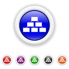 Organizational chart icon - six colours set vector