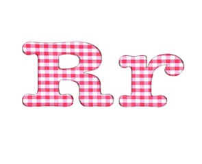 Abc fabric gingham, letter R.