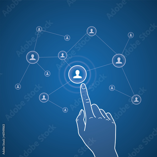 Vector touchscreen illustration, select profile